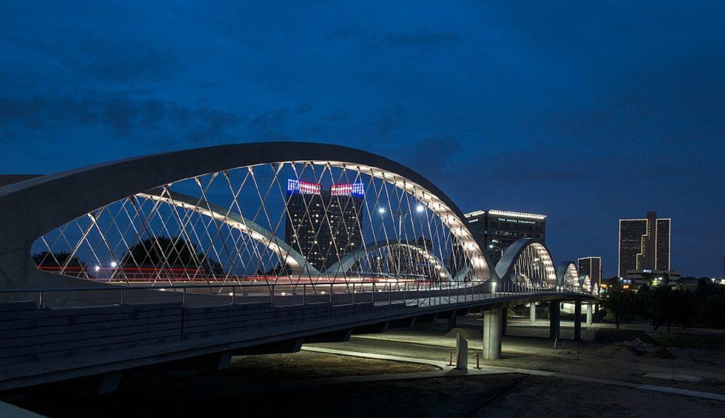 West 7th Street Bridge at night, Fort Worth, Texas